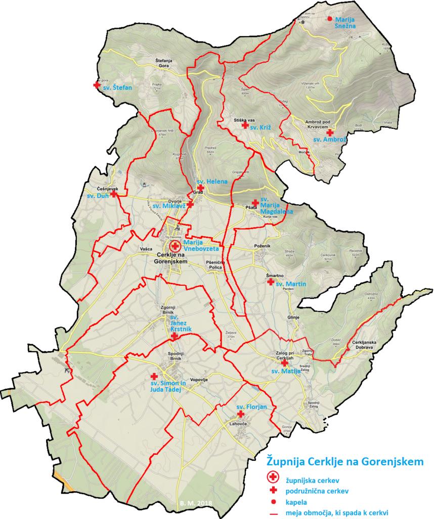 Za karto župnije so smiselno upoštevana območja katastrskih občin in naselij, ki se povsod ne skladajo. Območje župnije ni jasno definirano le v Spodnjem Zalogu, kjer nekaj hiš sodi v župnijo Komenda. Vir grafičnih predlog za izdelavo karte: spletna stran www.geoprostor.net